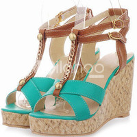 Bohemian T-Strap Rivet Open Toe PU Womens Wedge Sandals -  Milanoo.com