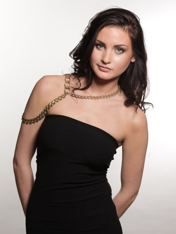 The Shoulder Keyhole - Asymmetrical Body Chain In Brass