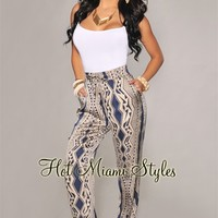 Navy-Blue Taupe Printed Silky Pants