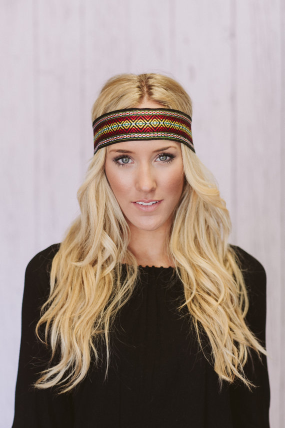 Bohemian Embroidered Wide Hippie Headband Colorful