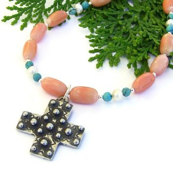 Spanish Cross Necklace Handmade Oxidized Pewter Coral Turquoise Pearls