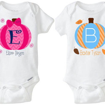 Thanksgiving Halloween Pumpkin Bodysuits - Fraternal Boy Girl Twins Baby Boys Baby Girls Gerber Onesuits -  Personalized with child's names
