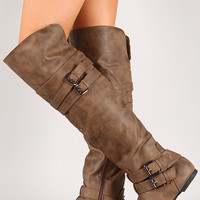 Strappy Buckle Riding Knee High Boot