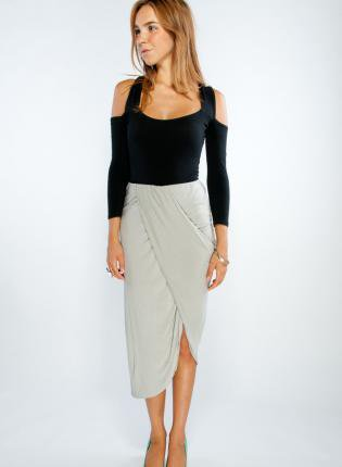 Grey Draped Grecian Inspired Long Skirt