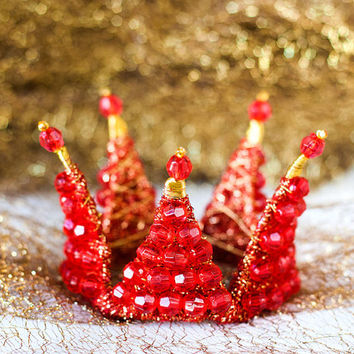 Red crown, Christmas hair accessories, Holiday hair accessories, Gold crown, Kids princess crown, Birthday hair accessory.