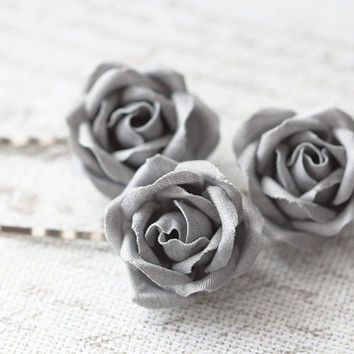 Denim hair accessories, Gray denim, Jean hair pins, Jean roses, Hair clip jean, Denim style, Teenage hair piece, Kids accessories, Hair pins