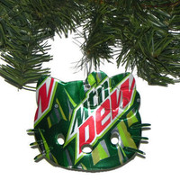 Recycled Mountain Dew Soda Can Christmas Ornament Hello Kitty Ornament