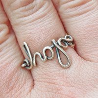 Hope ring, Sterling silver ring, Custom sized, Wire jewelry