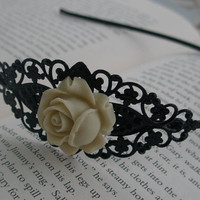 Vintage Style Headband - Black headband- Ivory headband- Ivory and black rose filigree- Filigree headband- Romantic- Feminine