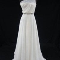 Romona Keveza Ivory Silk Chiffon One Shoulder Gown RK131 ? Bride Couture