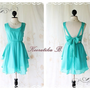 A Party V Shape Style - Cocktail Prom Party Dinner Wedding Night Dress Mint Blue Full Lined Deep Back Bow Tie Sexy Charming Looks