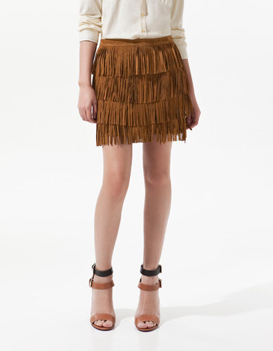 SUEDE SKIRT WITH FRINGES - Skirts - Woman - ZARA United States