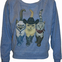 "Cats in Cowboy Boots Pullover Slouchy ""Sweatshirt""  Top American Apparel Blue L"