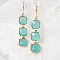 Aqua Sea Stone Drops ( gold )