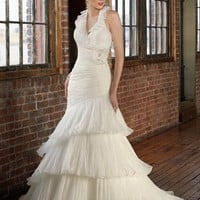 Halter Organza Trumpet Floor Length Gown Style 4815 $224.00 only in eFexcity.com.