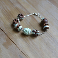 mint green hand painted skull bracelet