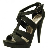 BLACK T-STRAP SANDAL @ KiwiLook fashion