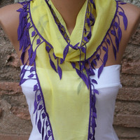 Yellow Scarf  -  Cotton Scarf- Cowl Scarf with  Purple Lace Edge - fatwoman