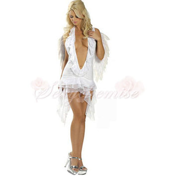 White Angel(with wings) Elf Halloween Costumes For Adults [TQL120322001] - £42.59 :