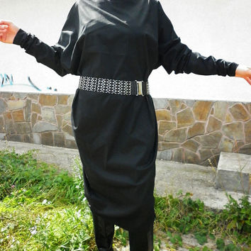 Fall Winter Long Black Dress / Extravagant Maxi Abaya/Casual Loose Oversize Dress/ Elegant Dress/Party Dress by moShic D012