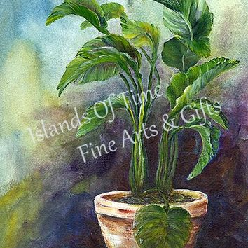 Green Purple Potted Plant Print Tropical Greenery Wall Decor 11 x 14
