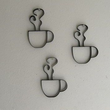 Coffee Cups Metal Wall Decor - Three