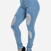 High Waisted Ripped Skinny Jean