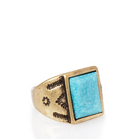Etched Faux Turquoise Ring Bronze/Turquoise