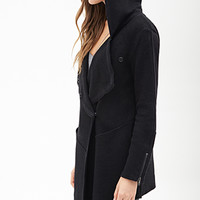 LOVE 21 Hooded Multi-Knit Jacket Black/Charcoal