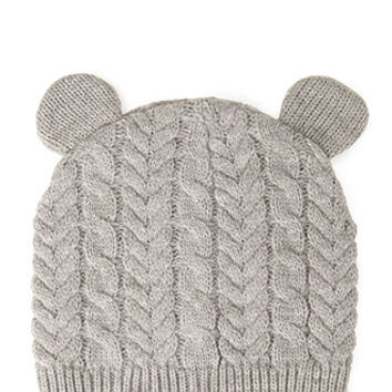 FOREVER 21 Cable Knit Mouse Ear Beanie Grey One