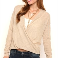Long Sleeve Metallic Textured High Low Top with Surplice Front