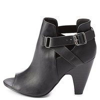 Belted Peep Toe Booties by Charlotte Russe - Black