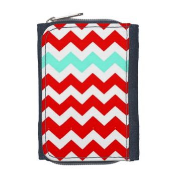Red & Turquoise Chevron Denim Wallet