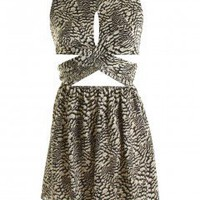LOVE Rock Python Print Twist Front Cut Out Dress  - Love