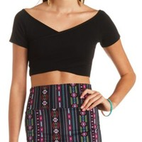 Off-the-Shoulder Wrap Crop Top by Charlotte Russe