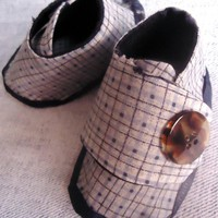 Handmade Boy Booties Denim Plaid Si.. on Luulla