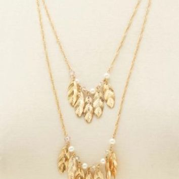 Bead & Feather Layered Necklace by Charlotte Russe - Gold