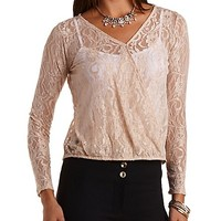 Long Sleeve Lace Wrap Top by Charlotte Russe - Deep Blush