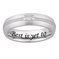 Engraved Ladies' 5mm Stainless Steel Claddagh Band