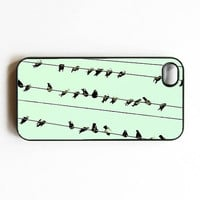 "Iphone Case. ""Minty"". Birds. Birds on Wite. Black. Mint blue. Iphone 4 case. Iphone 4s case. Baby blue."