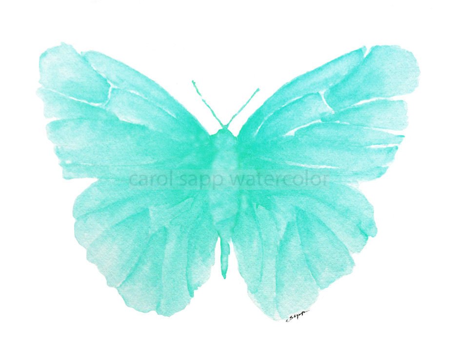 Turquoise Watercolor Butterfly on Luulla