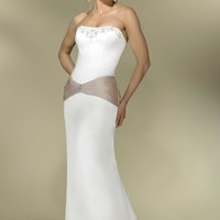 Two-tone Informal Bridal Gown Satin A-line Gown with PleatedBand at Waist line Adorned with Rhinestone Broach Added Sweep Train YSPWD0039 - $124.77 : Maxnina.com