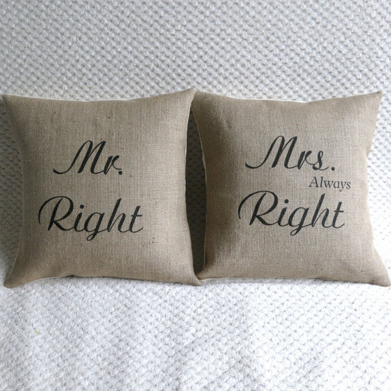Mr & Mrs Right Set of Two Hessian Burlap Pillow Cushion Covers