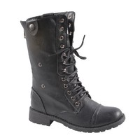 Sweet Beauty terra-01 Women's mid calf combat boot with micro fiber lining