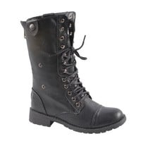 Sweet Beauty terra-01 Women&#x27;s mid calf combat boot with micro fiber lining