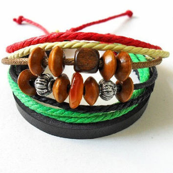 bangle leather bracelet ropes bracelet men bracelet women bracelet with ropes wood beads and leather cuff bracelet  SH-1379