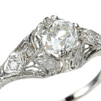Art Deco Design in a Diamond Platinum Ring - The Three Graces