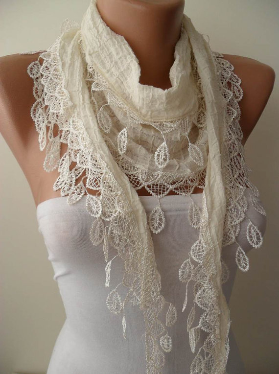 Creamy White Cotton and Summer Scarf with Cream Trim Edge....