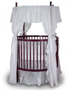 Angel Line Fixed Side Round Crib and Mattress Set - 7059L