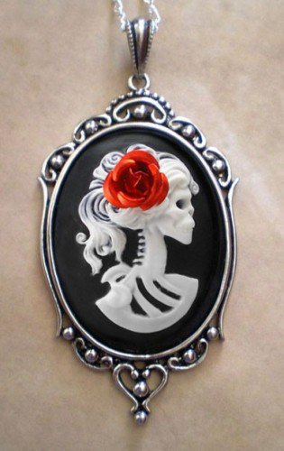 Gothic White Lolita Skeleton Black Cameo Necklace by couturebylolita on Sense of Fashion